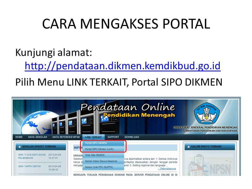 CARA MENGAKSES PORTAL Kunjungi alamat: http://pendataan.dikmen.kemdikbud.go.id http://pendataan.dikmen.kemdikbud.go.id Pilih Menu LINK TERKAIT, Portal