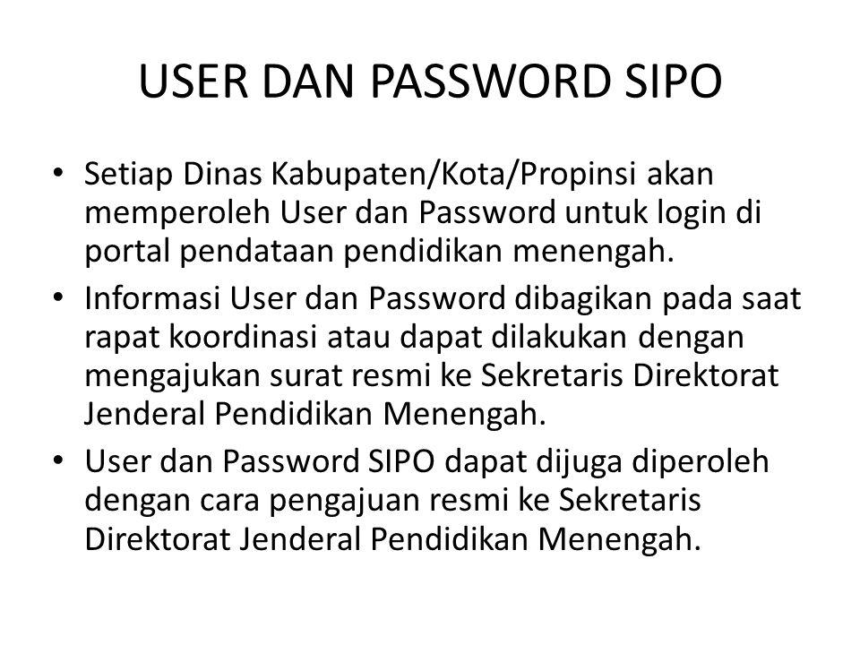 USER DAN PASSWORD SIPO Setiap Dinas Kabupaten/Kota/Propinsi akan memperoleh User dan Password untuk login di portal pendataan pendidikan menengah. Inf
