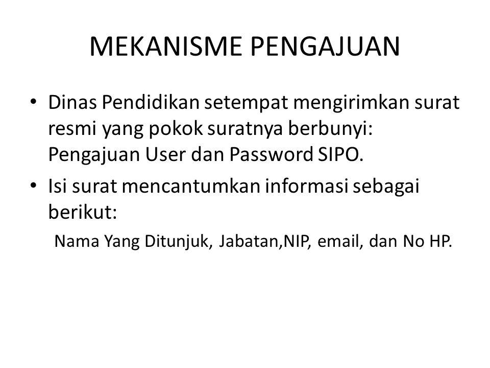 MEKANISME PENGAJUAN Dinas Pendidikan setempat mengirimkan surat resmi yang pokok suratnya berbunyi: Pengajuan User dan Password SIPO. Isi surat mencan