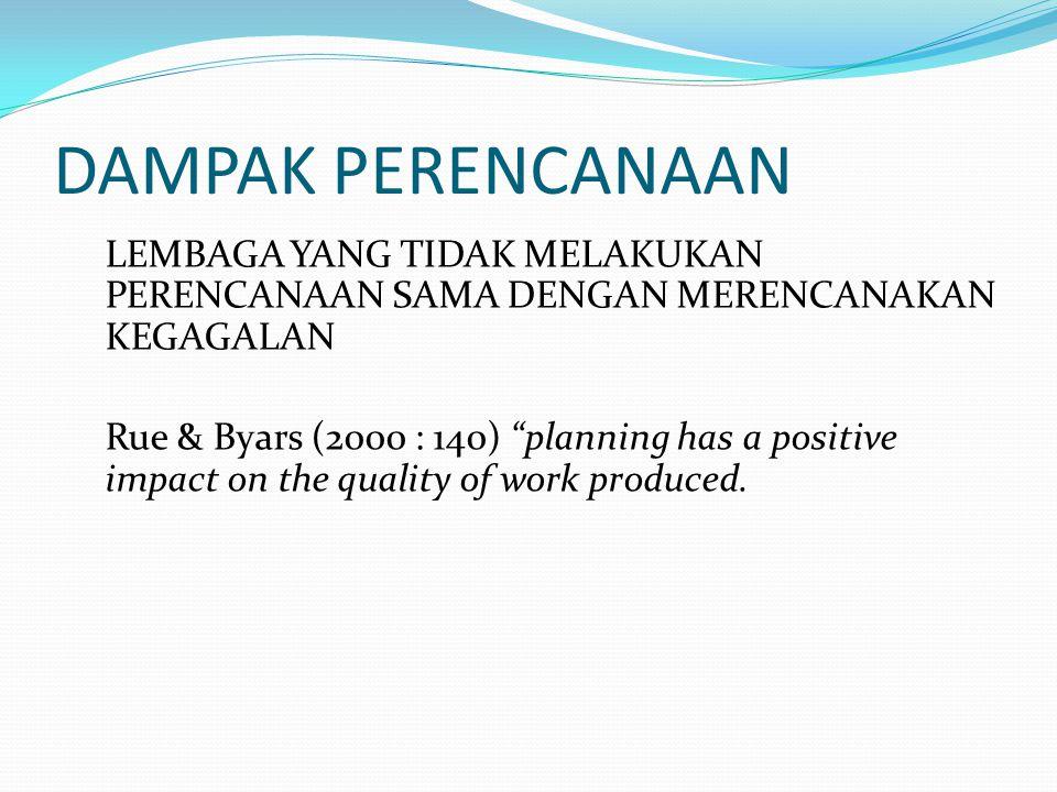 DAMPAK PERENCANAAN LEMBAGA YANG TIDAK MELAKUKAN PERENCANAAN SAMA DENGAN MERENCANAKAN KEGAGALAN Rue & Byars (2000 : 140) planning has a positive impact on the quality of work produced.