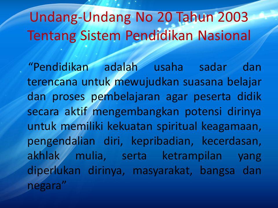 """Undang-Undang No 20 Tahun 2003 Tentang Sistem Pendidikan Nasional """"Pendidikan adalah usaha sadar dan terencana untuk mewujudkan suasana belajar dan pr"""