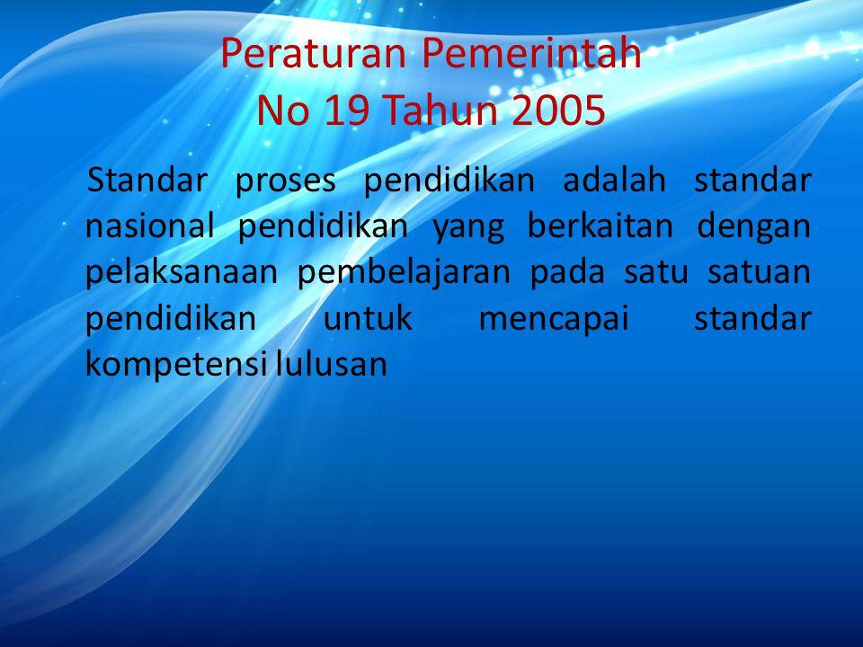 Peraturan Pemerintah No 19 Tahun 2005 Standar proses pendidikan adalah standar nasional pendidikan yang berkaitan dengan pelaksanaan pembelajaran pada