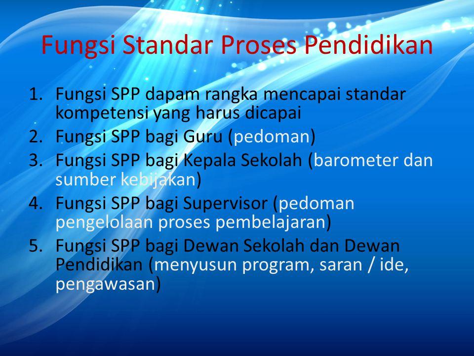 Fungsi Standar Proses Pendidikan 1.Fungsi SPP dapam rangka mencapai standar kompetensi yang harus dicapai 2.Fungsi SPP bagi Guru (pedoman) 3.Fungsi SP