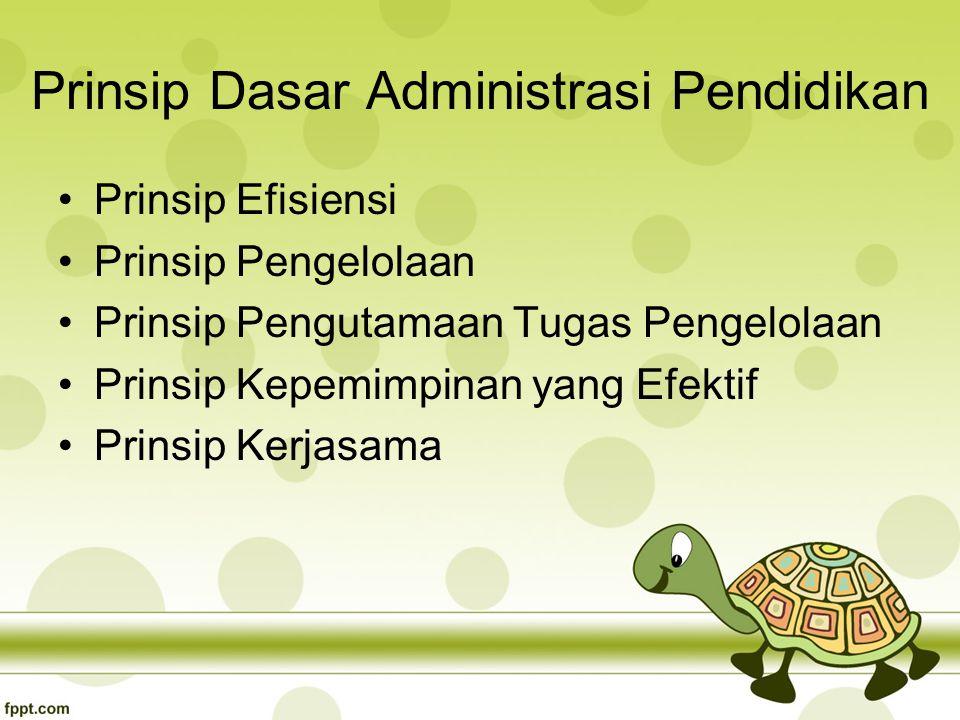 Prinsip Dasar Administrasi Pendidikan Prinsip Efisiensi Prinsip Pengelolaan Prinsip Pengutamaan Tugas Pengelolaan Prinsip Kepemimpinan yang Efektif Prinsip Kerjasama