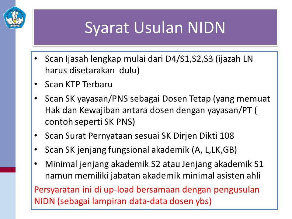 Syarat Usulan NIDN Scan Ijasah lengkap mulai dari D4/S1,S2,S3 (ijazah LN harus disetarakan dulu) Scan KTP Terbaru Scan SK yayasan/PNS sebagai Dosen Te