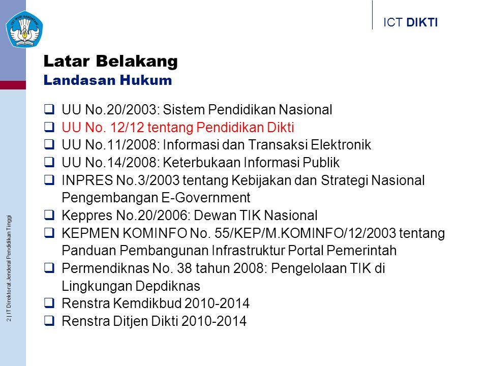 ICT DIKTI Latar Belakang Landasan Hukum  UU No.20/2003: Sistem Pendidikan Nasional  UU No. 12/12 tentang Pendidikan Dikti  UU No.11/2008: Informasi
