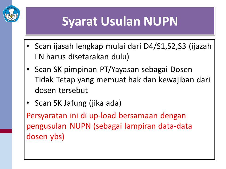 Syarat Usulan NUPN Scan ijasah lengkap mulai dari D4/S1,S2,S3 (ijazah LN harus disetarakan dulu) Scan SK pimpinan PT/Yayasan sebagai Dosen Tidak Tetap