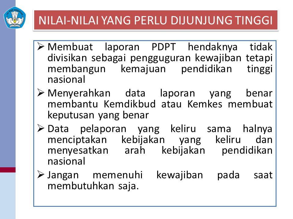 NILAI-NILAI YANG PERLU DIJUNJUNG TINGGI  Membuat laporan PDPT hendaknya tidak divisikan sebagai pengguguran kewajiban tetapi membangun kemajuan pendi