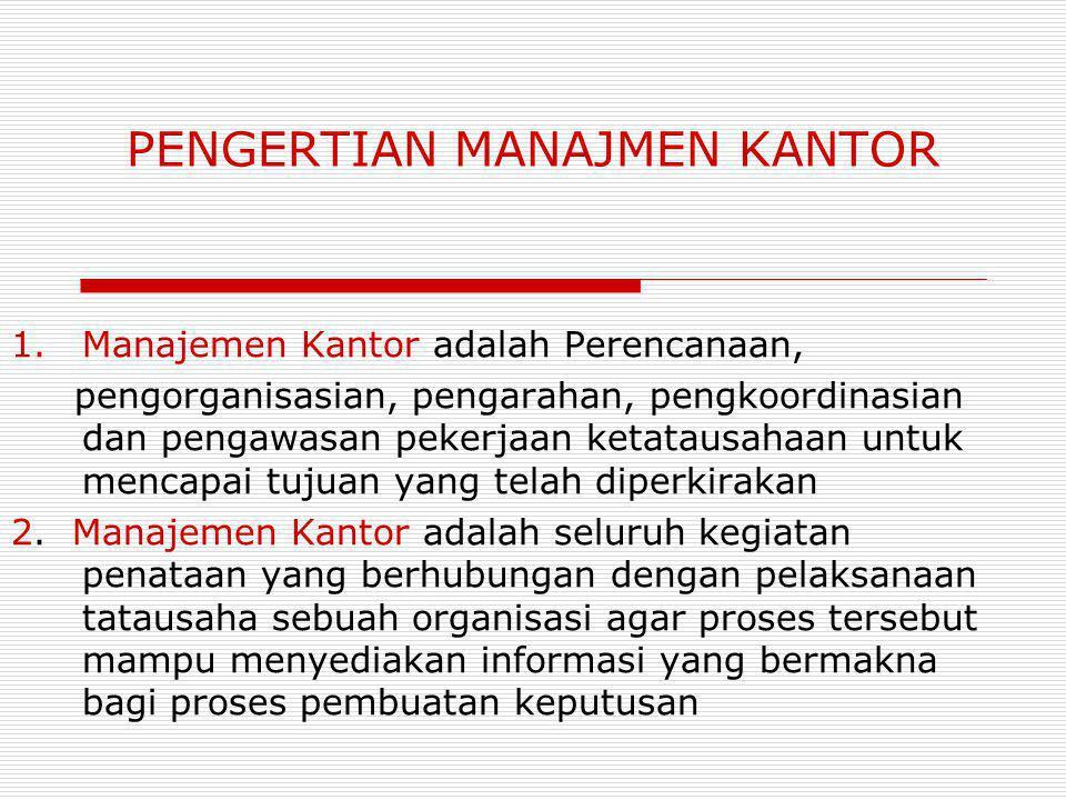 PENGERTIAN MANAJMEN KANTOR 1.Manajemen Kantor adalah Perencanaan, pengorganisasian, pengarahan, pengkoordinasian dan pengawasan pekerjaan ketatausahaan untuk mencapai tujuan yang telah diperkirakan 2.