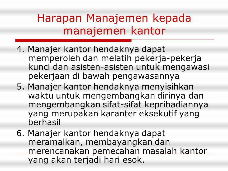 Harapan Manajemen kepada manajemen kantor 4. Manajer kantor hendaknya dapat memperoleh dan melatih pekerja-pekerja kunci dan asisten-asisten untuk men