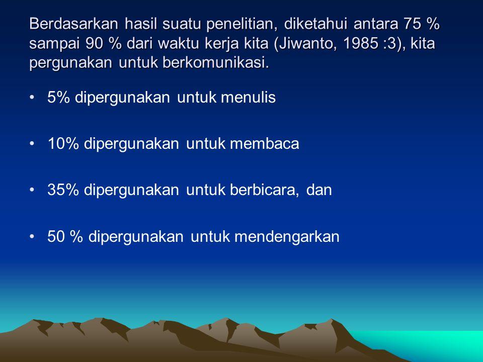 Berdasarkan hasil suatu penelitian, diketahui antara 75 % sampai 90 % dari waktu kerja kita (Jiwanto, 1985 :3), kita pergunakan untuk berkomunikasi. 5