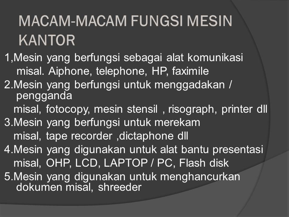 MEMILIH MESIN KANTOR Dalam memilih mesin kantor perlu diperhatikan sbb : 1.Mesin yang dipakai harus benar-benar diperlukan 2.Mesin harus dapat memperc