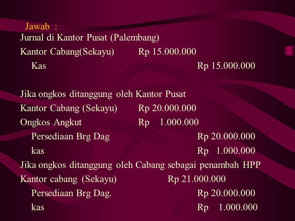 Latihan PT.Cahaya sebagai Kantor pusat di Palembang pada tanggal 1 Oktober 2008 mengirim uang ke cabang Sekayu sebesar Rp 15.000.000,- Pada tanggal ya