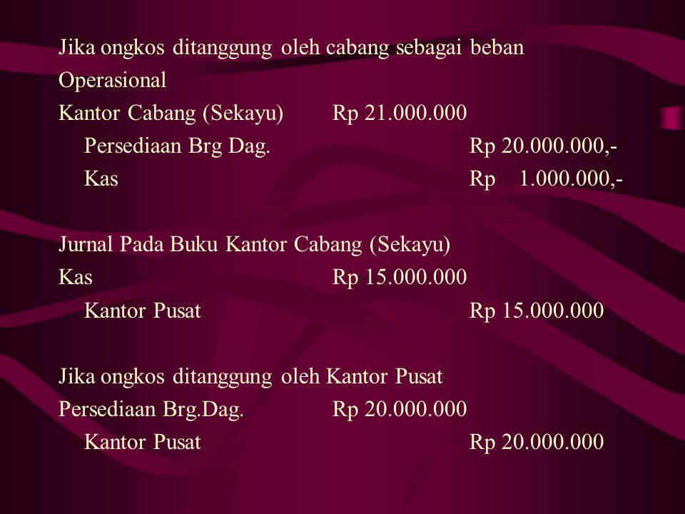 Jawab : Jurnal di Kantor Pusat (Palembang) Kantor Cabang(Sekayu)Rp 15.000.000 KasRp 15.000.000 Jika ongkos ditanggung oleh Kantor Pusat Kantor Cabang