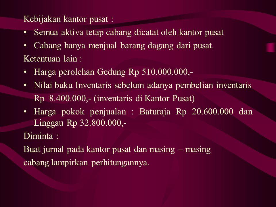 7. Untuk meningkatkan aktivitas cabang, Kantor Cabang Linggau membeli kendaraan bekas (kondisi 90%) seharga Rp 75.000.000,-dibayar tunai Rp 5.000.000,