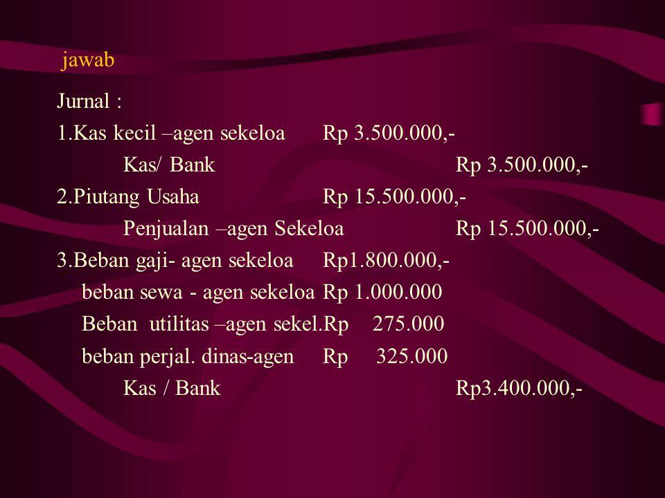 Latihan PT.Cahaya sebagai Kantor pusat di Palembang pada tanggal 1 Oktober 2008 mengirim uang ke cabang Sekayu sebesar Rp 15.000.000,- Pada tanggal yang sama pusat juga mengirim barang Dagangan dengan HPP Rp 20.000.000,- dengan ongkos angkut Rp 1.000.000,-( Metode Perpetual) Diminta : Jurnal atas transaksi tersebut baik yang dilakukan oleh Kantor Pusat maupun oleh Kantor Cabang.