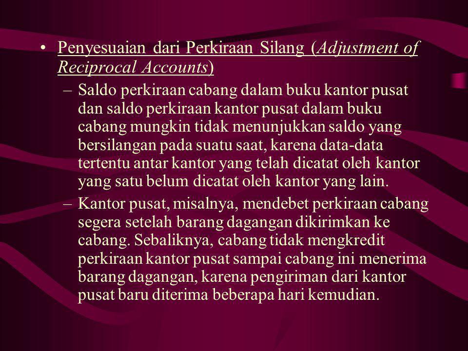 Penyesuaian dari Perkiraan Silang (Adjustment of Reciprocal Accounts) –Saldo perkiraan cabang dalam buku kantor pusat dan saldo perkiraan kantor pusat