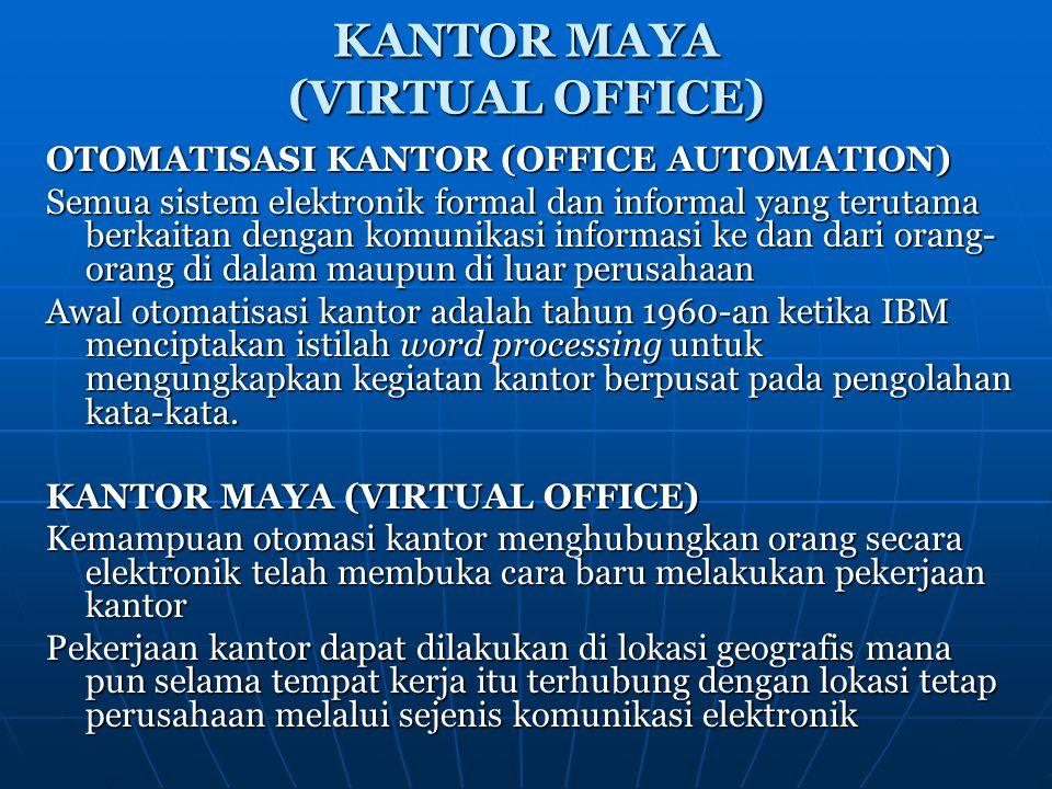 KANTOR MAYA (VIRTUAL OFFICE) OTOMATISASI KANTOR (OFFICE AUTOMATION) Semua sistem elektronik formal dan informal yang terutama berkaitan dengan komunik