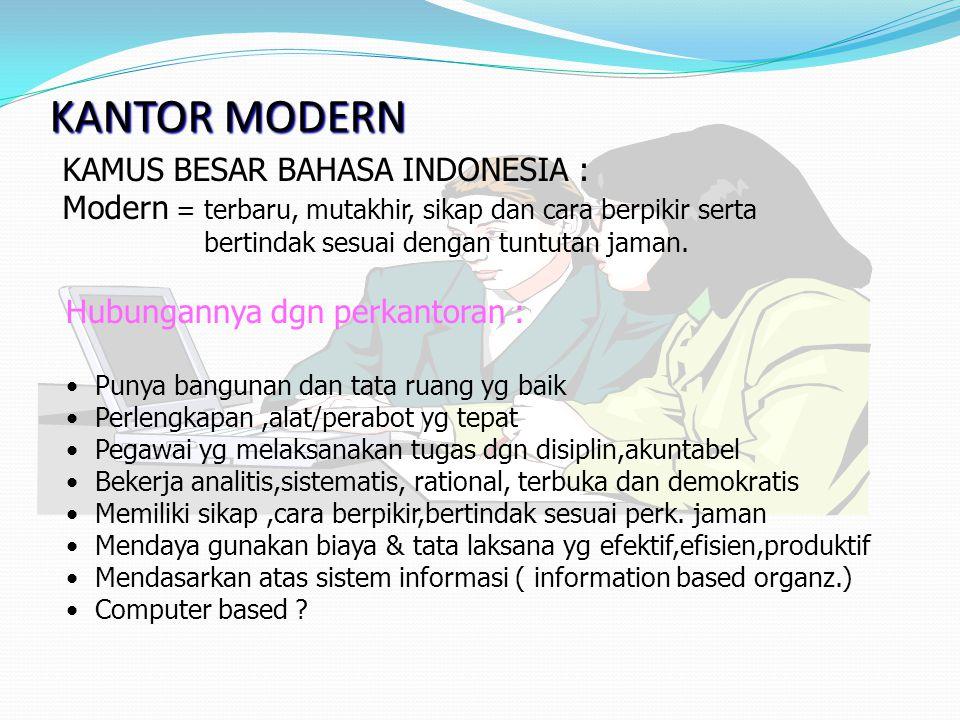 KANTOR MODERN KAMUS BESAR BAHASA INDONESIA : Modern = terbaru, mutakhir, sikap dan cara berpikir serta bertindak sesuai dengan tuntutan jaman. Hubunga