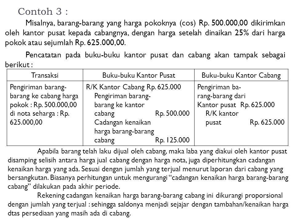 Contoh 3 : Misalnya, barang-barang yang harga pokoknya (cos) Rp. 500.000,00 dikirimkan oleh kantor pusat kepada cabangnya, dengan harga setelah dinaik