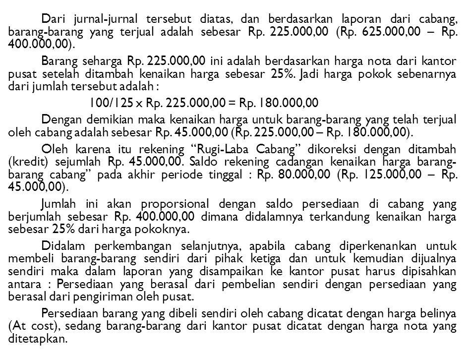 Dari jurnal-jurnal tersebut diatas, dan berdasarkan laporan dari cabang, barang-barang yang terjual adalah sebesar Rp. 225.000,00 (Rp. 625.000,00 – Rp
