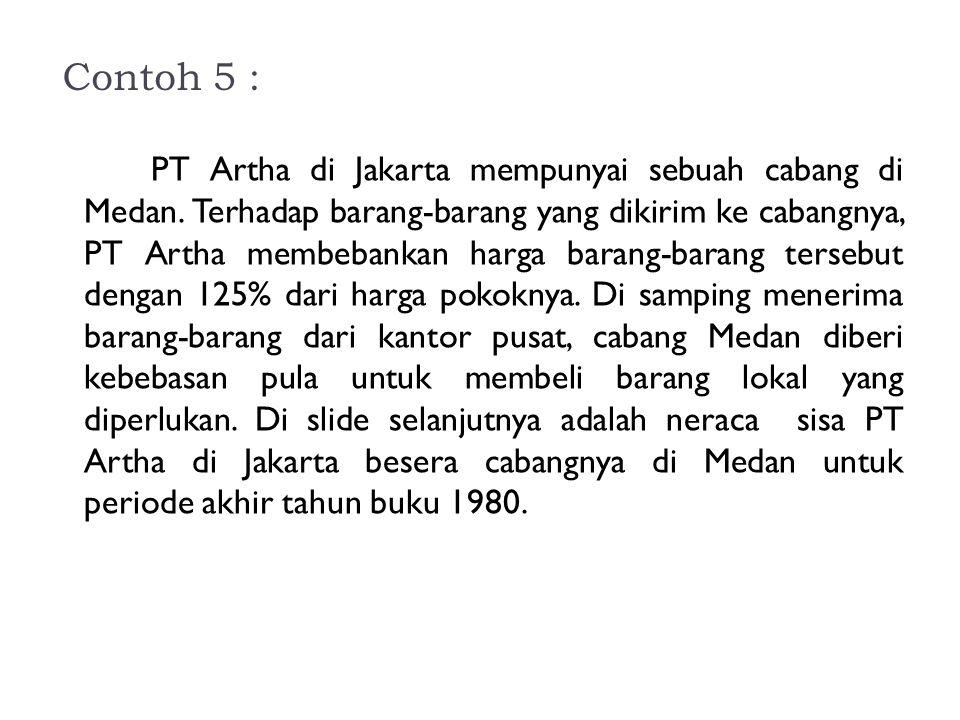 Contoh 5 : PT Artha di Jakarta mempunyai sebuah cabang di Medan. Terhadap barang-barang yang dikirim ke cabangnya, PT Artha membebankan harga barang-b