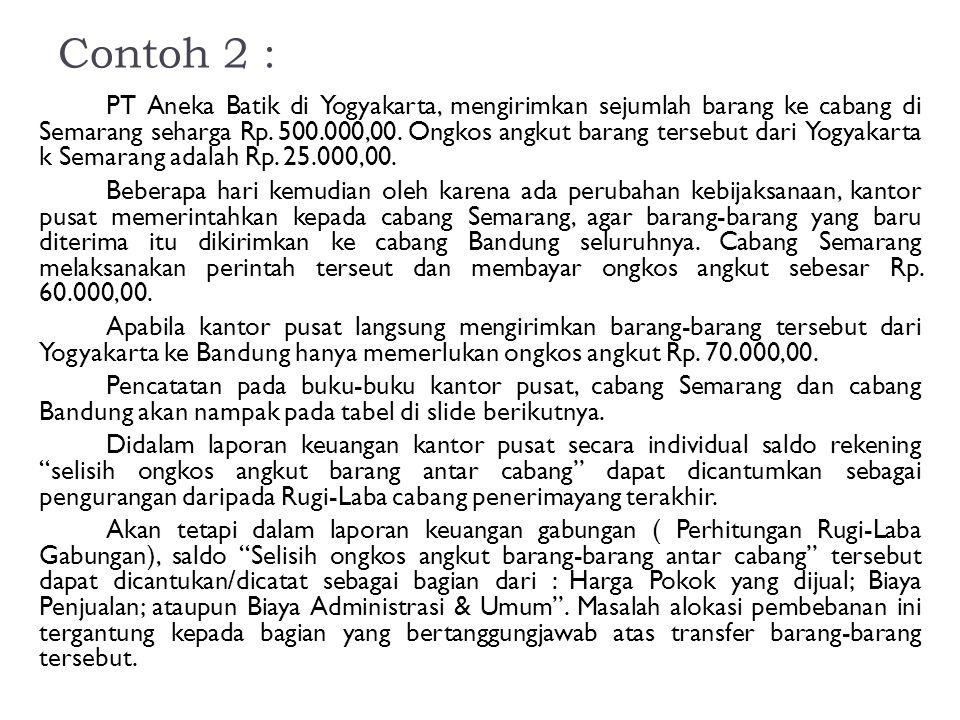 Contoh 2 : PT Aneka Batik di Yogyakarta, mengirimkan sejumlah barang ke cabang di Semarang seharga Rp. 500.000,00. Ongkos angkut barang tersebut dari