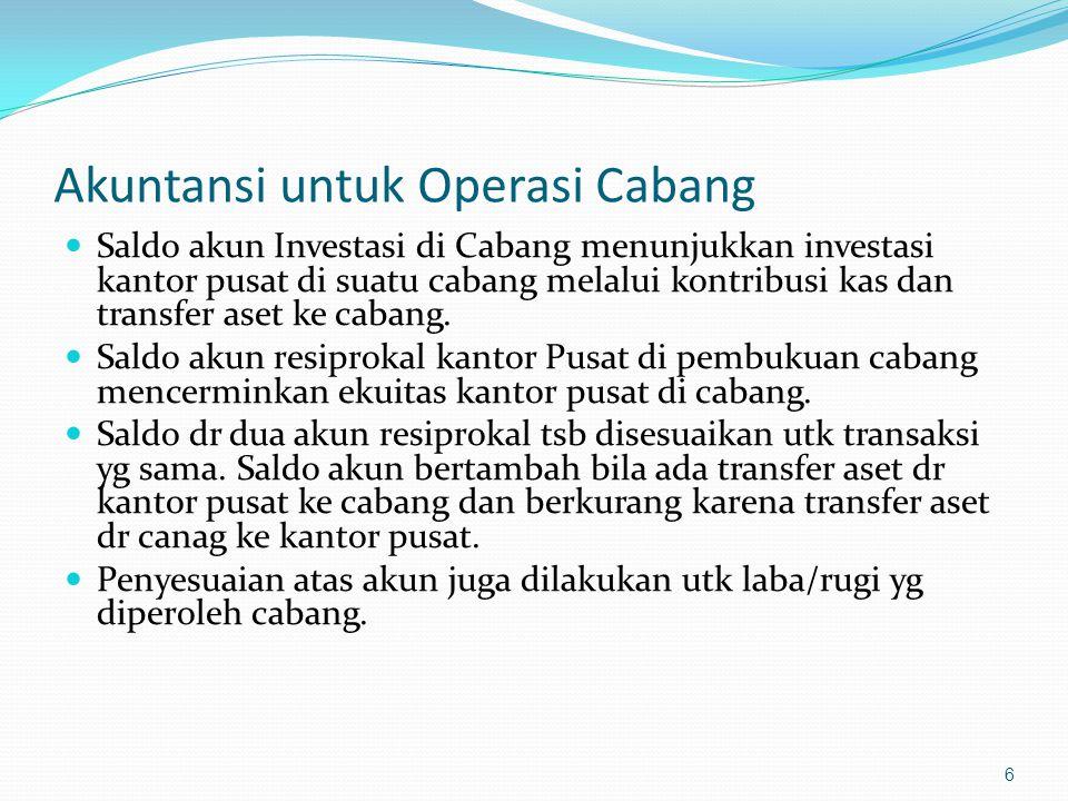 Akuntansi untuk Operasi Cabang Saldo akun Investasi di Cabang menunjukkan investasi kantor pusat di suatu cabang melalui kontribusi kas dan transfer a