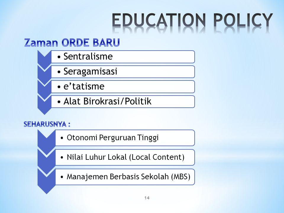 Sentralisme Seragamisasi e'tatismeAlat Birokrasi/Politik Otonomi Perguruan Tinggi Nilai Luhur Lokal (Local Content) Manajemen Berbasis Sekolah (MBS) 1