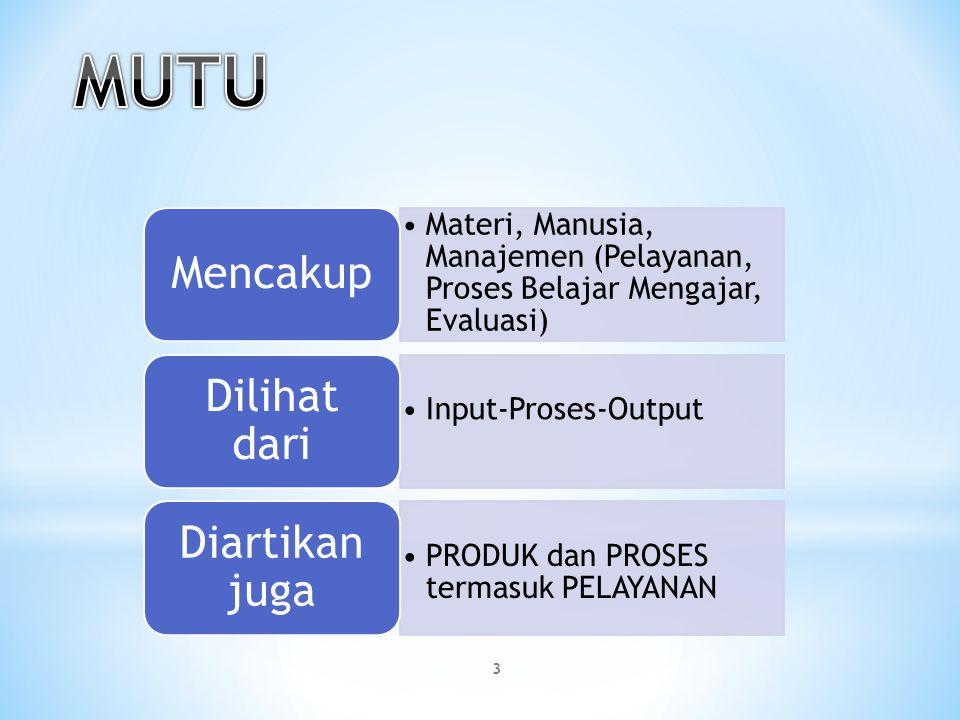 Materi, Manusia, Manajemen (Pelayanan, Proses Belajar Mengajar, Evaluasi) Mencakup Input-Proses-Output Dilihat dari PRODUK dan PROSES termasuk PELAYAN