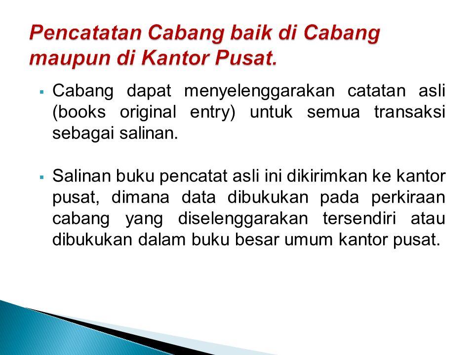  Cabang dapat menyelenggarakan catatan asli (books original entry) untuk semua transaksi sebagai salinan.  Salinan buku pencatat asli ini dikirimkan
