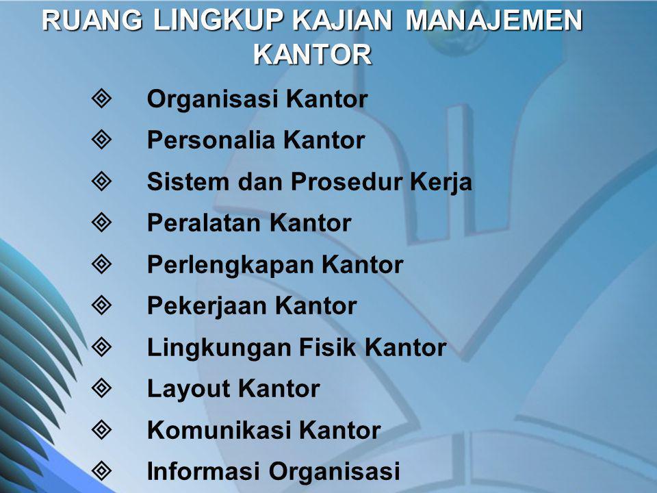 RUANG LINGKUP KAJIAN MANAJEMEN KANTOR  Organisasi Kantor  Personalia Kantor  Sistem dan Prosedur Kerja  Peralatan Kantor  Perlengkapan Kantor  P