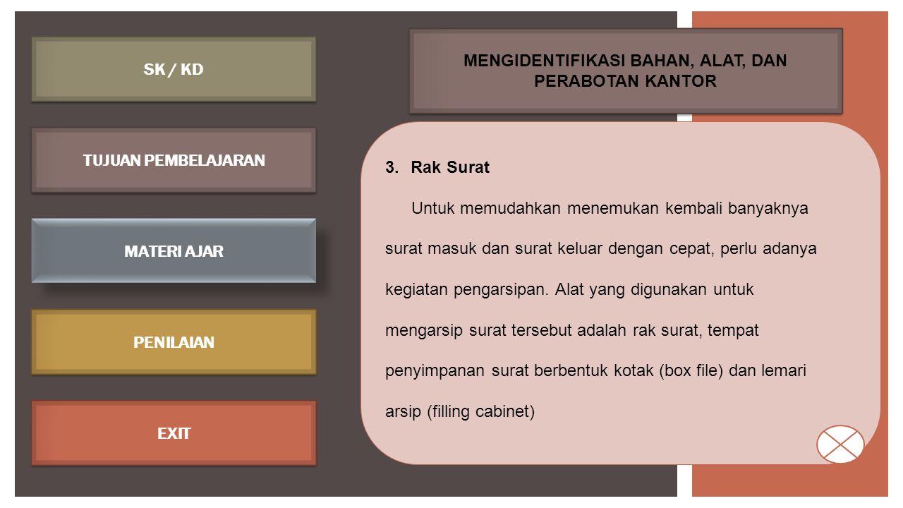 SK / KD TUJUAN PEMBELAJARAN MATERI AJAR PENILAIAN EXIT 4.