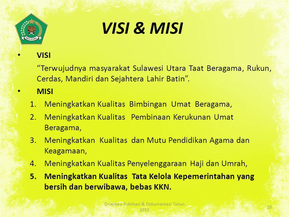 VISI & MISI VISI Terwujudnya masyarakat Sulawesi Utara Taat Beragama, Rukun, Cerdas, Mandiri dan Sejahtera Lahir Batin .