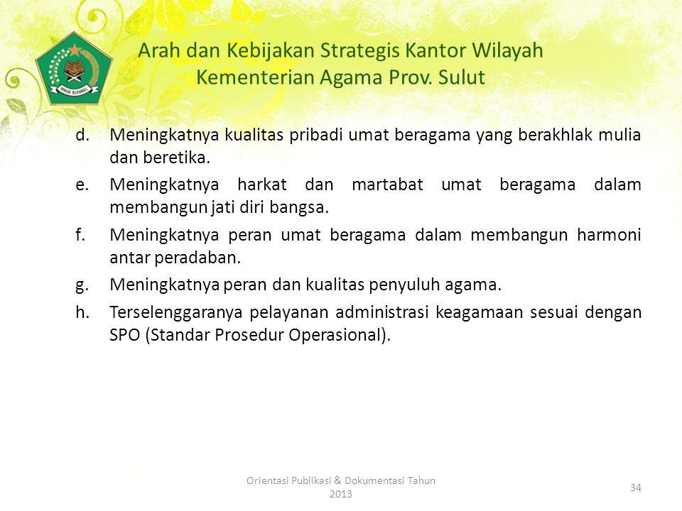 Arah dan Kebijakan Strategis Kantor Wilayah Kementerian Agama Prov.