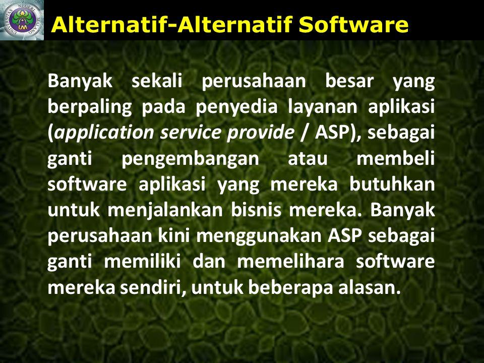 www.themegallery.com Alternatif-Alternatif Software Banyak sekali perusahaan besar yang berpaling pada penyedia layanan aplikasi (application service provide / ASP), sebagai ganti pengembangan atau membeli software aplikasi yang mereka butuhkan untuk menjalankan bisnis mereka.