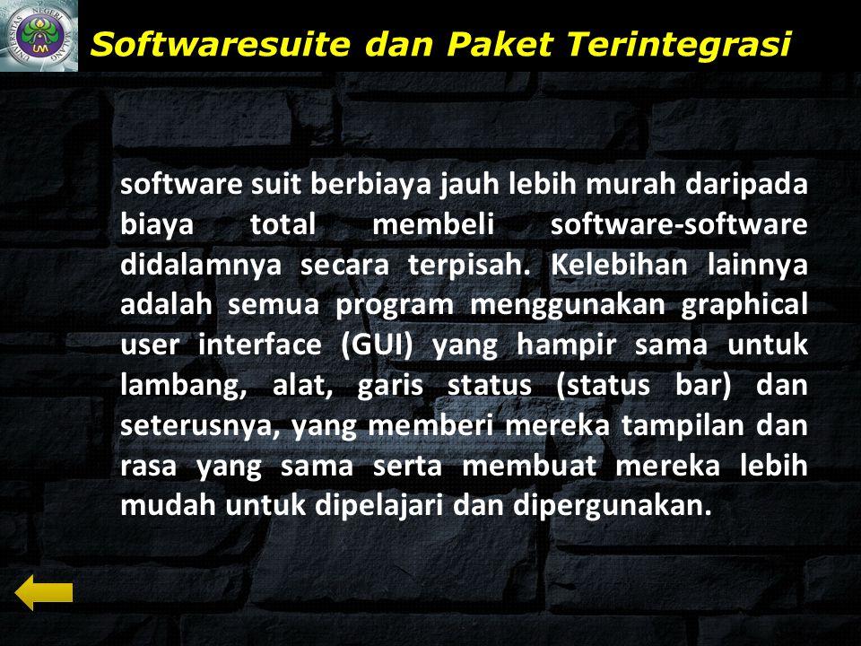 www.themegallery.com Softwaresuite dan Paket Terintegrasi software suit berbiaya jauh lebih murah daripada biaya total membeli software-software didalamnya secara terpisah.