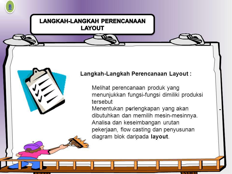 Langkah-Langkah Perencanaan Layout : Melihat perencanaan produk yang menunjukkan fungsi-fungsi dimiliki produksi tersebut Menentukan perlengkapan yang akan dibutuhkan dan memilih mesin-mesinnya.
