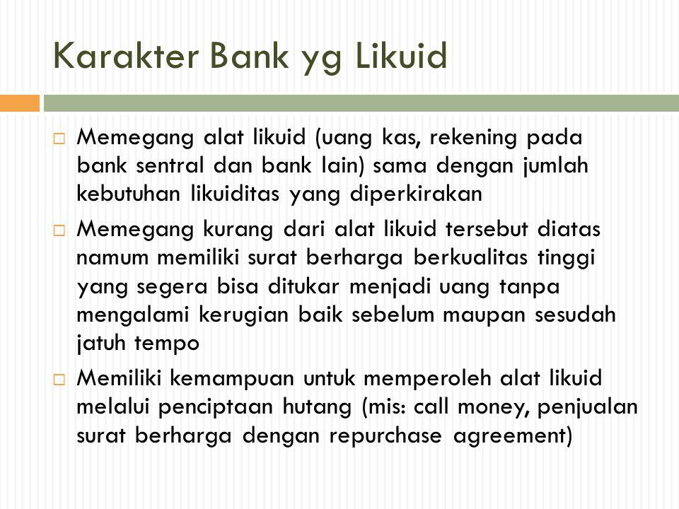 Karakter Bank yg Likuid  Memegang alat likuid (uang kas, rekening pada bank sentral dan bank lain) sama dengan jumlah kebutuhan likuiditas yang diper