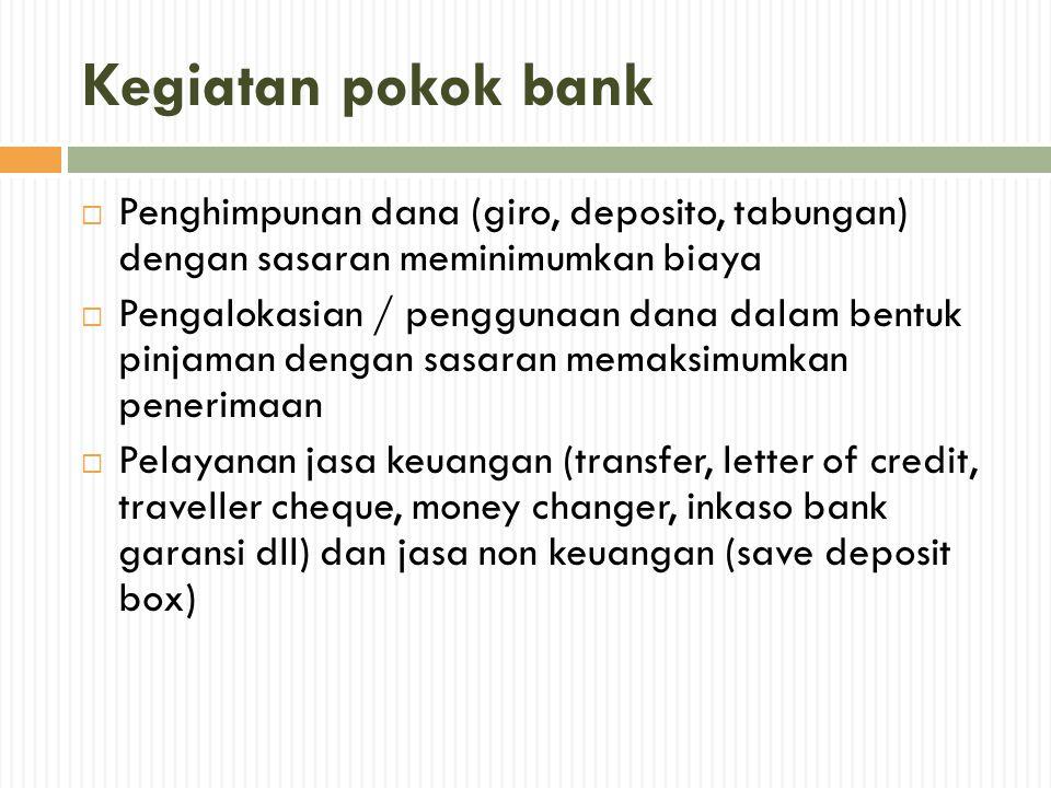 Kegiatan pokok bank  Penghimpunan dana (giro, deposito, tabungan) dengan sasaran meminimumkan biaya  Pengalokasian / penggunaan dana dalam bentuk pi