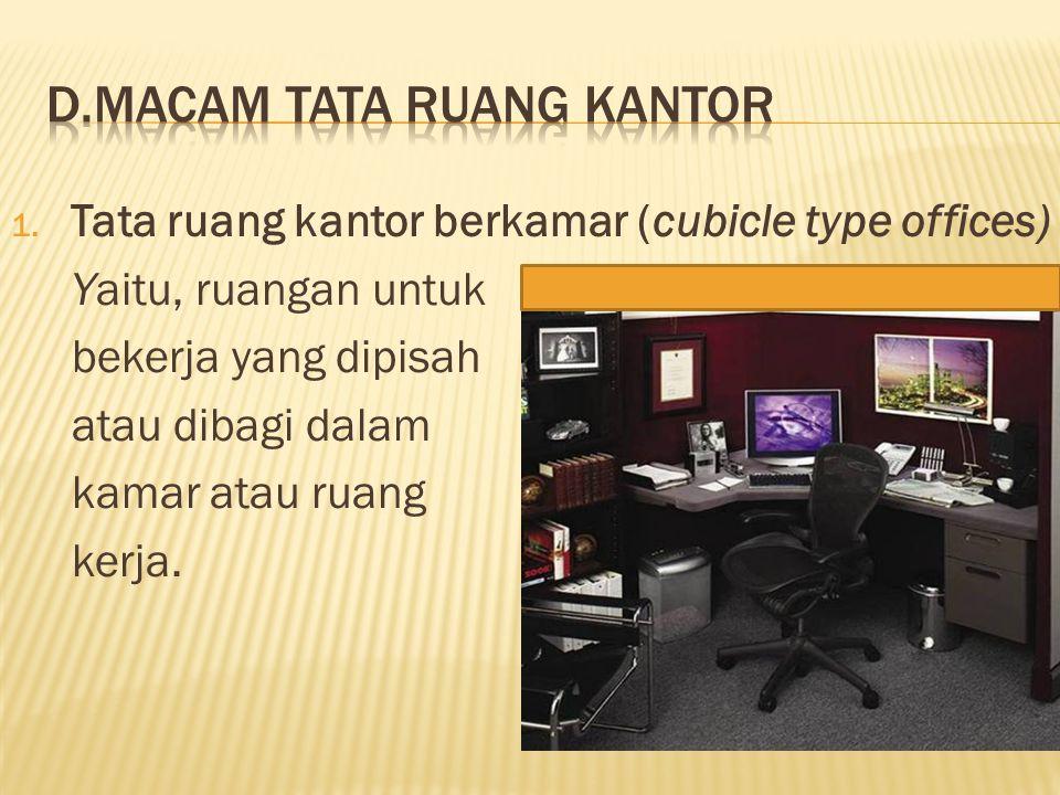 1. Tata ruang kantor berkamar (cubicle type offices) Yaitu, ruangan untuk bekerja yang dipisah atau dibagi dalam kamar atau ruang kerja.