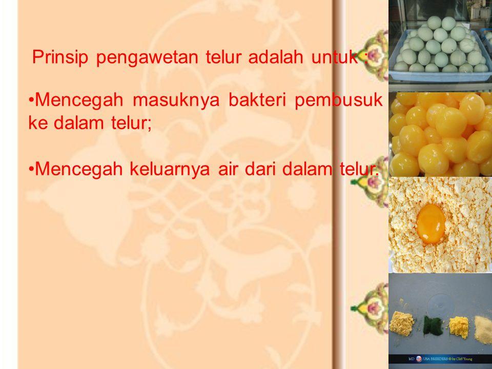 Kualitas telur ditentukan oleh : kualitas bagian dalam (kekentalan putih dan kuning telur, posisi kuning telur, dan ada tidaknya noda atau bintik dara