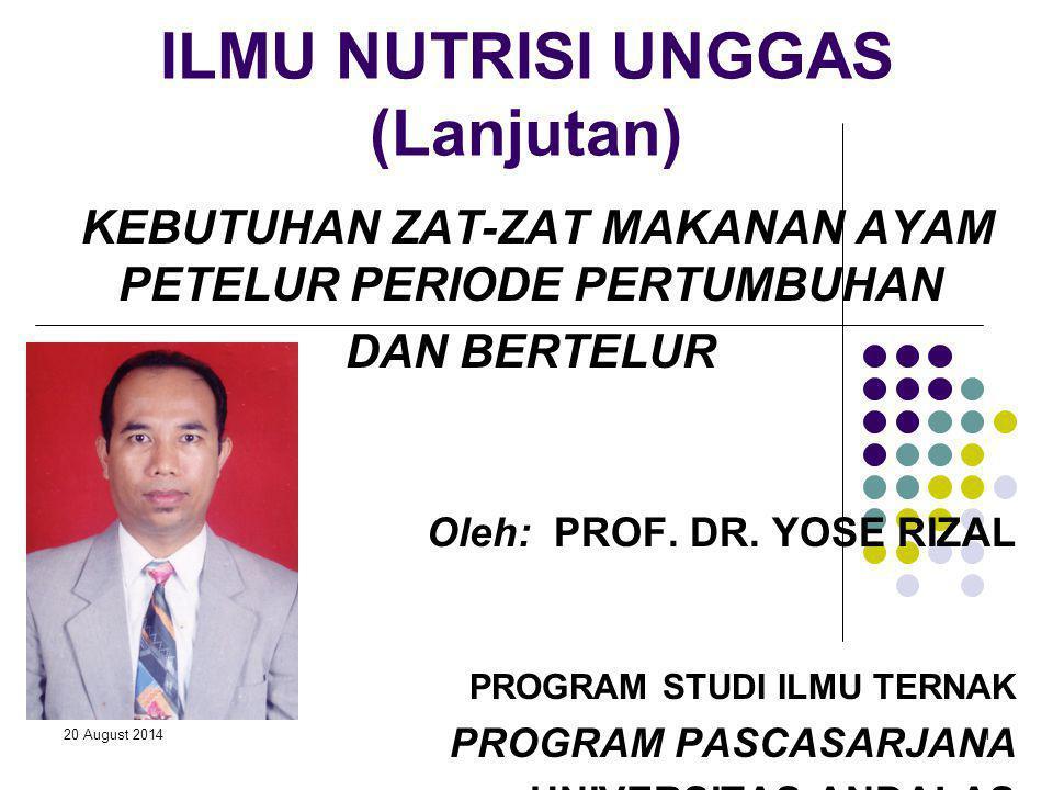20 August 201412 PENINGKATAN INTAKE ZAT MAKANAN PADA AYAM PETELUR DARA 1.