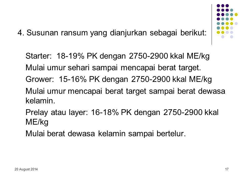 20 August 201417 4. Susunan ransum yang dianjurkan sebagai berikut: Starter: 18-19% PK dengan 2750-2900 kkal ME/kg Mulai umur sehari sampai mencapai b