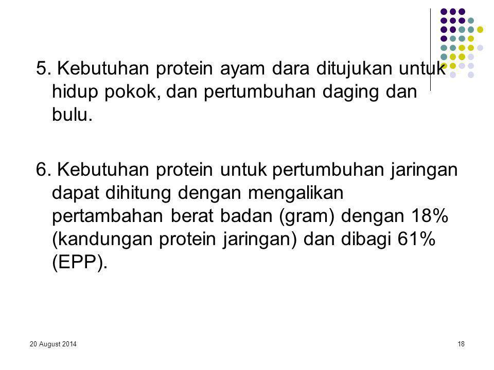 20 August 201418 5. Kebutuhan protein ayam dara ditujukan untuk hidup pokok, dan pertumbuhan daging dan bulu. 6. Kebutuhan protein untuk pertumbuhan j