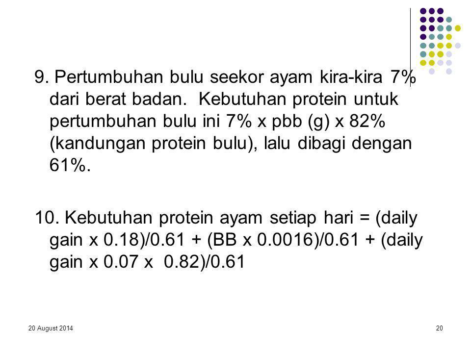 20 August 201420 9. Pertumbuhan bulu seekor ayam kira-kira 7% dari berat badan. Kebutuhan protein untuk pertumbuhan bulu ini 7% x pbb (g) x 82% (kandu