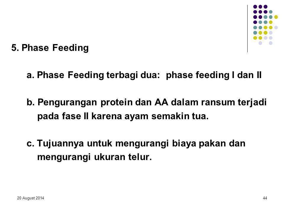 20 August 201444 5. Phase Feeding a. Phase Feeding terbagi dua: phase feeding I dan II b. Pengurangan protein dan AA dalam ransum terjadi pada fase II