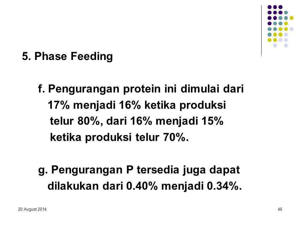 20 August 201446 5. Phase Feeding f. Pengurangan protein ini dimulai dari 17% menjadi 16% ketika produksi telur 80%, dari 16% menjadi 15% ketika produ