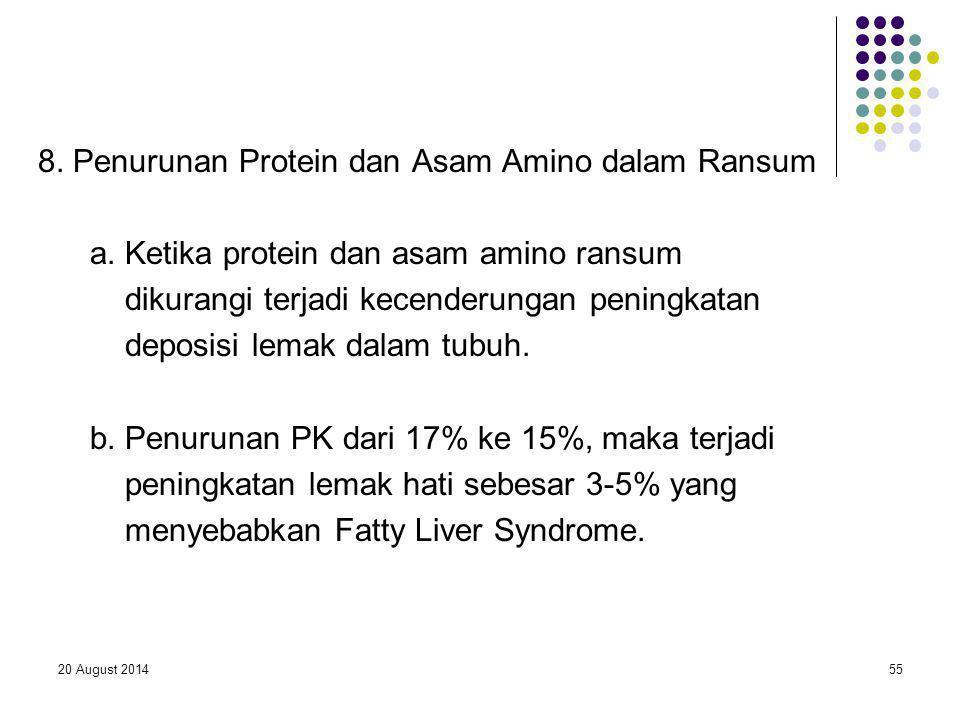 20 August 201455 8. Penurunan Protein dan Asam Amino dalam Ransum a. Ketika protein dan asam amino ransum dikurangi terjadi kecenderungan peningkatan