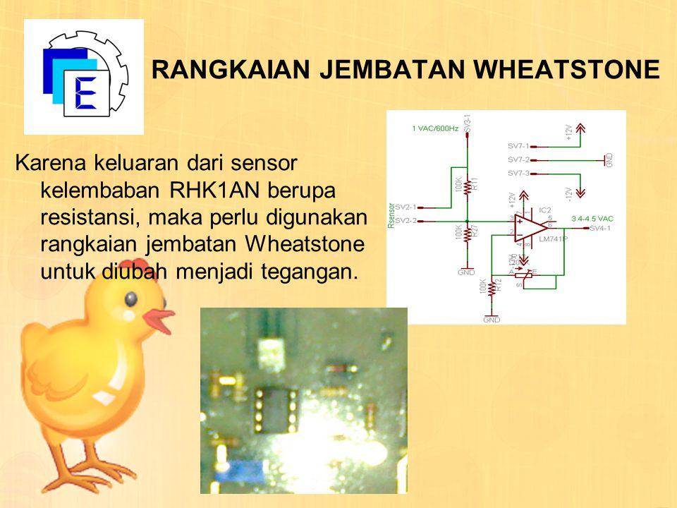 RANGKAIAN JEMBATAN WHEATSTONE Karena keluaran dari sensor kelembaban RHK1AN berupa resistansi, maka perlu digunakan rangkaian jembatan Wheatstone untu